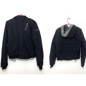 Columbia Black Winter Jacket Faux Fur Lined Hood